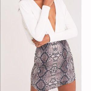 PrettyLittleThing Snakeskin Mini Skirt